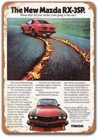1977 mazda rx 3sp old car tin sign sisoso vintage metal plaques poster pub man cave retro wall decor 8x12 inch