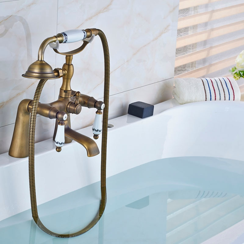Antique Bronze Bathtub Faucet Brass Bath Shower Faucet With Hand Shower Spray Deck Mounted 2 Handle Hot and Cold Water Mixer Tap