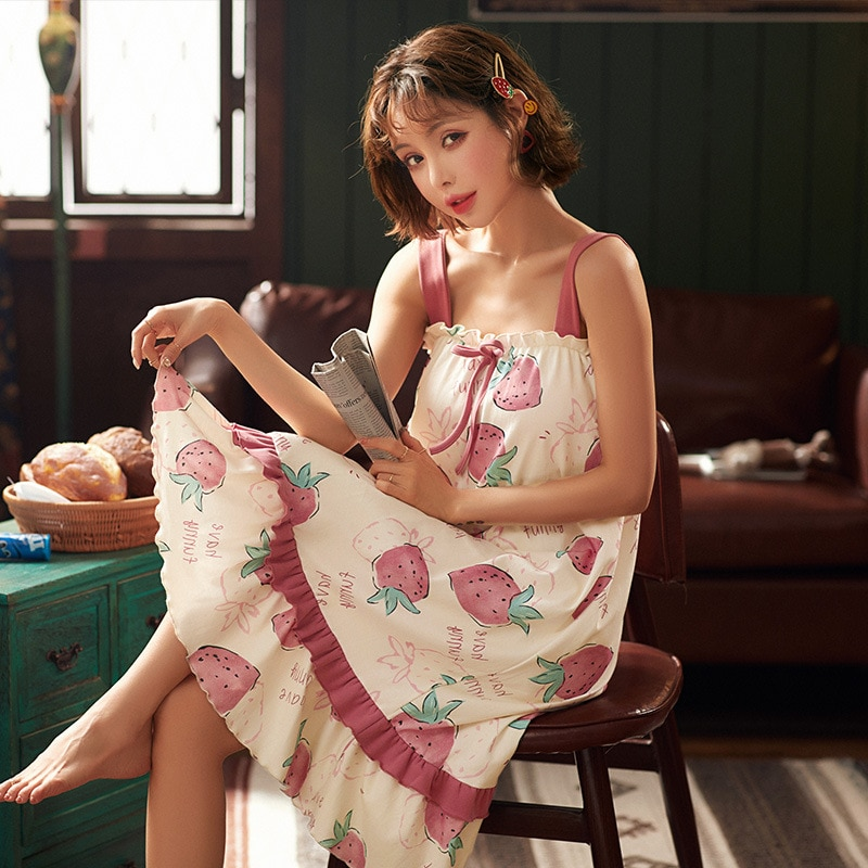 Camisón fino de verano para mujer, bonito vestido de noche, ropa de dormir de algodón con dibujo de fresas, vestidos sexy para mujer, ropa de casa, ropa XXL