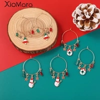 christmas earrings crystal snowman jewelry christmas tree stud earring for women creative party accessories girl gifts