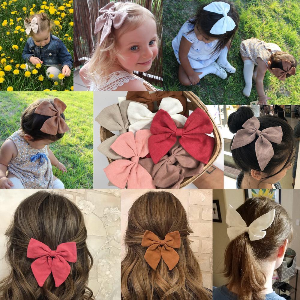 Increíble tela de lino, moños boutique, lazos para el cabello, pinzas para el pelo, lazos de marinero, pasadores para el pelo, accesorios para el cabello para niñas y mujeres