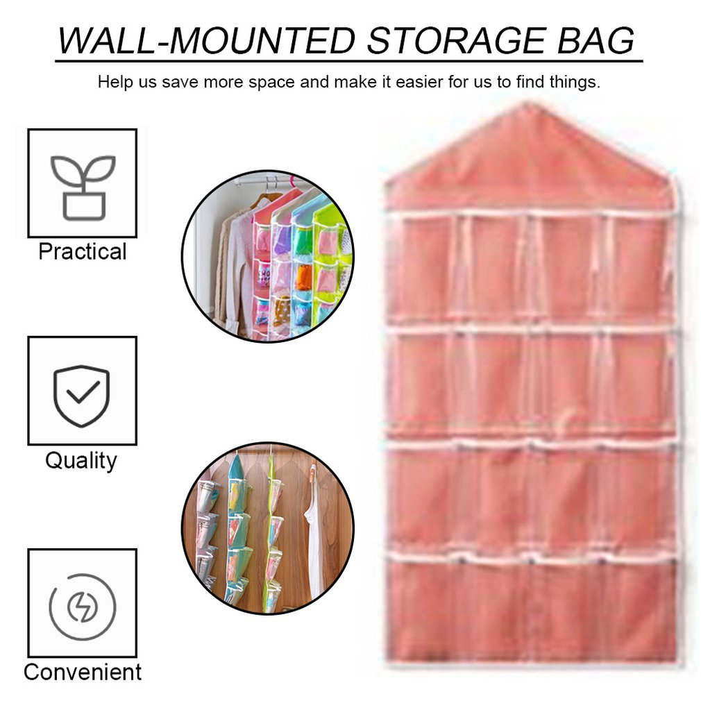 Hot Newest 16 Pockets Clear Over Door Hanging Bag Hanger Storage Tidy Organizer For Home Bathroom Living Room Household Sundries