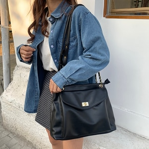 High Capacity PU Leather Women Shoulder Crossbody Bags 2021 New Chain Vintage Handbags Ladies Casual Totes Female Purses