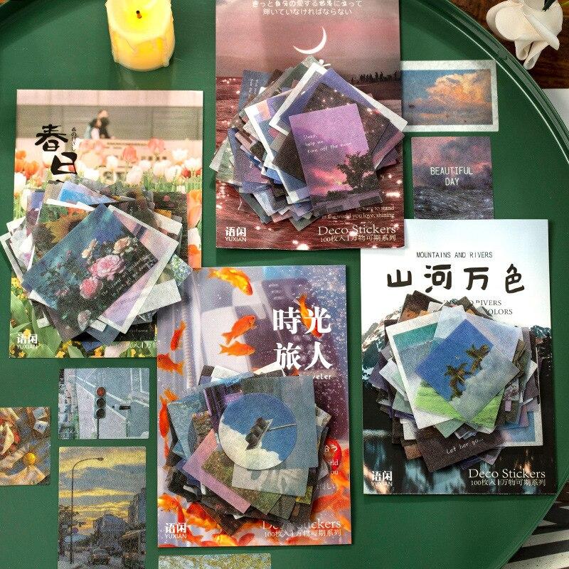 100 folhas/pacote ins estilo washi adesivo conjunto montanha e rios etiqueta decorativa adesivos decoração para scrapbooking arte diy artesanato