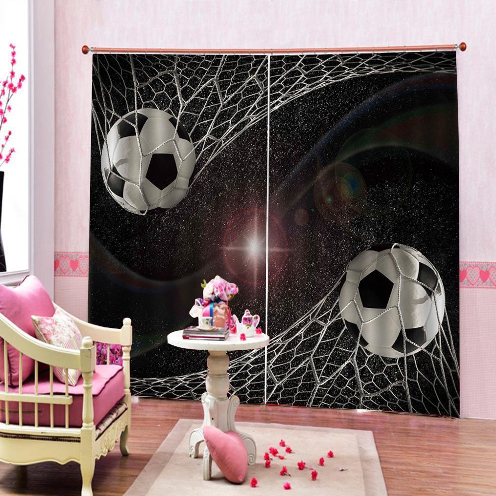 Cortinas personalizadas para sala de adolescentes, cortinas de fútbol, cortinas para sala de estar, cortinas opacas para dormitorio