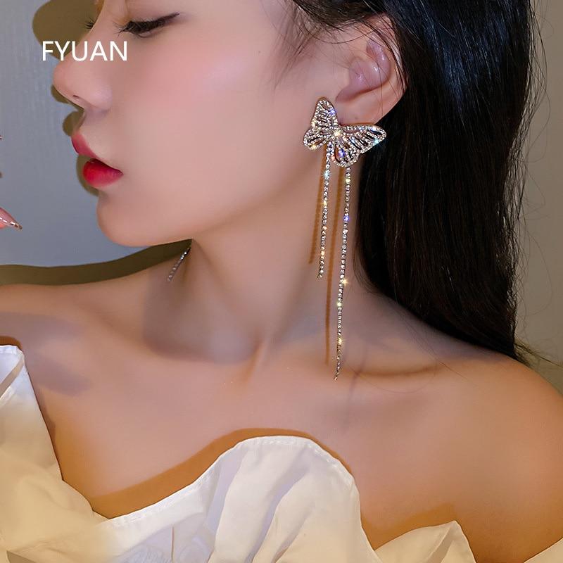 AliExpress - FYUAN Long Tassel Rhinestone Drop Earrings for Women Hollow Butterfly Crystal Dangle Earrings Weddings Jewelry Accessories