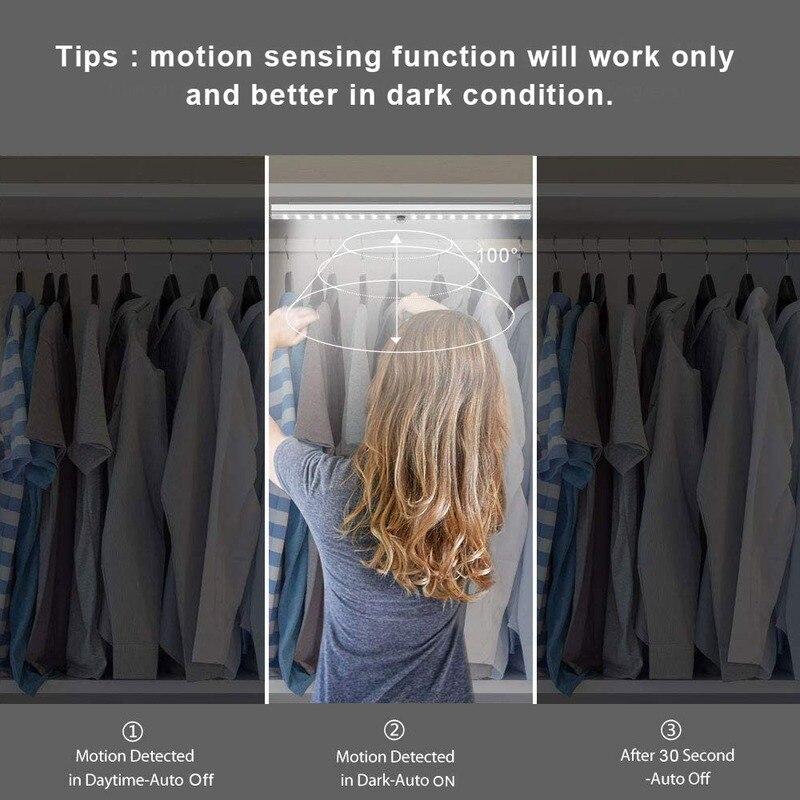 Беспроводной светодиодная подсветка под шкаф USB Перезаряжаемые светодиодный ночник с датчиком движения Сенсор для туалета Лестницы Кухня ...