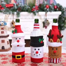 Christmas Wine Bottle Cover Merry Christmas Decor For Home Santa Claus Xmas Decoration Dinner New Ye