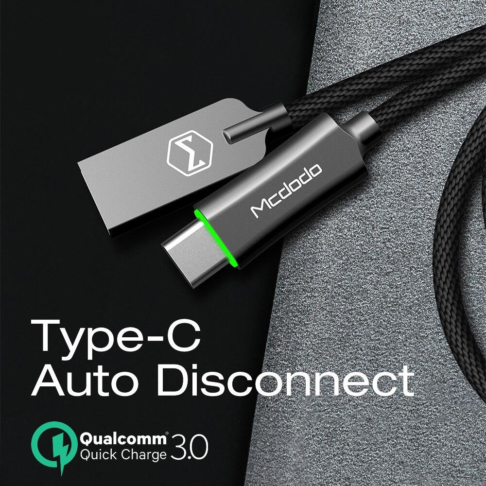 Cable de datos de carga rápida Mcdodo USB tipo C QC3.0 para Huawei Xiaomi Samsung S10 9 cargador de desconexión automática USB cable de tipo C