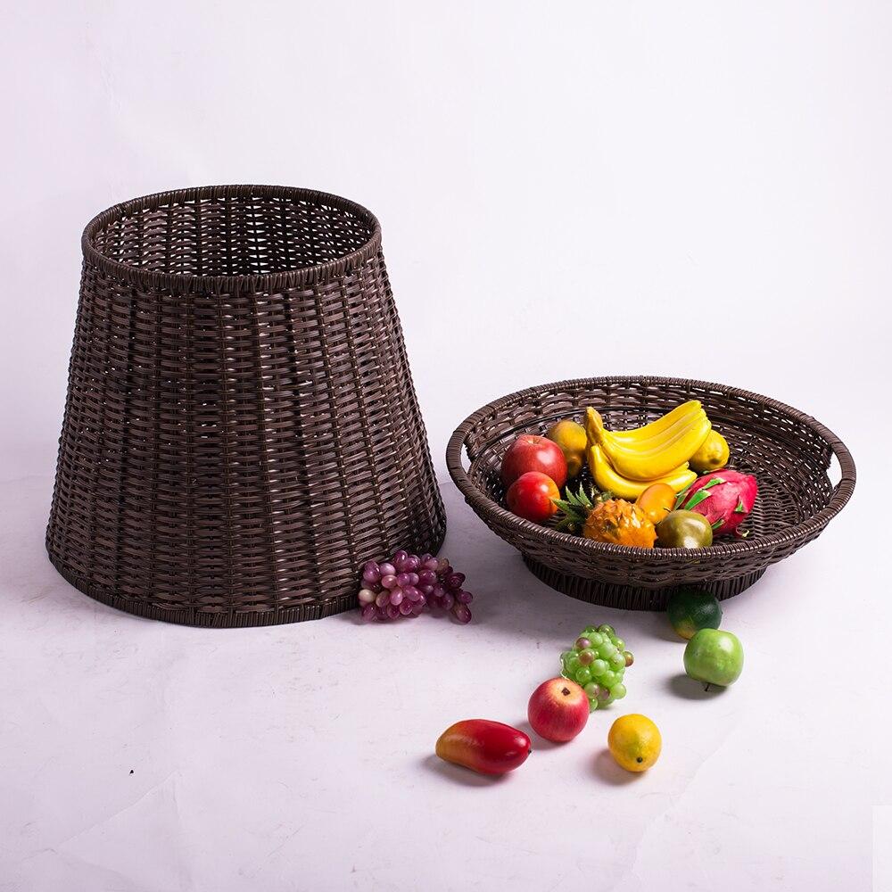 Huangtu جودة عالية معدات الخدمة اليدوية الروطان البلاستيك الفاكهة الخضار تخزين رفوف سلة معروضات للسوبر ماركت