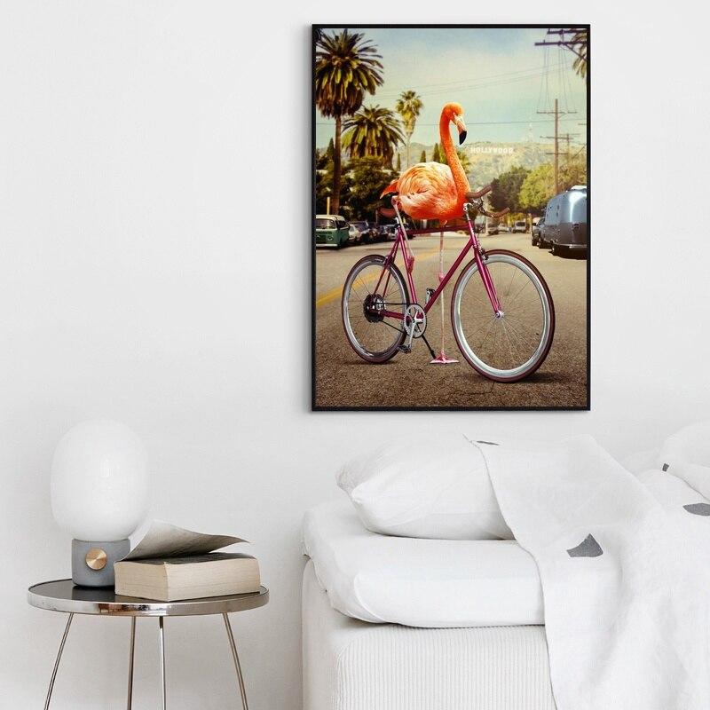 Cuadros de lienzo para decoración del hogar, pintura rosa para bicicleta, pared con flamencos, impresiones de arte, alta definición nórdica, cartel creativo Modular para sala de estar