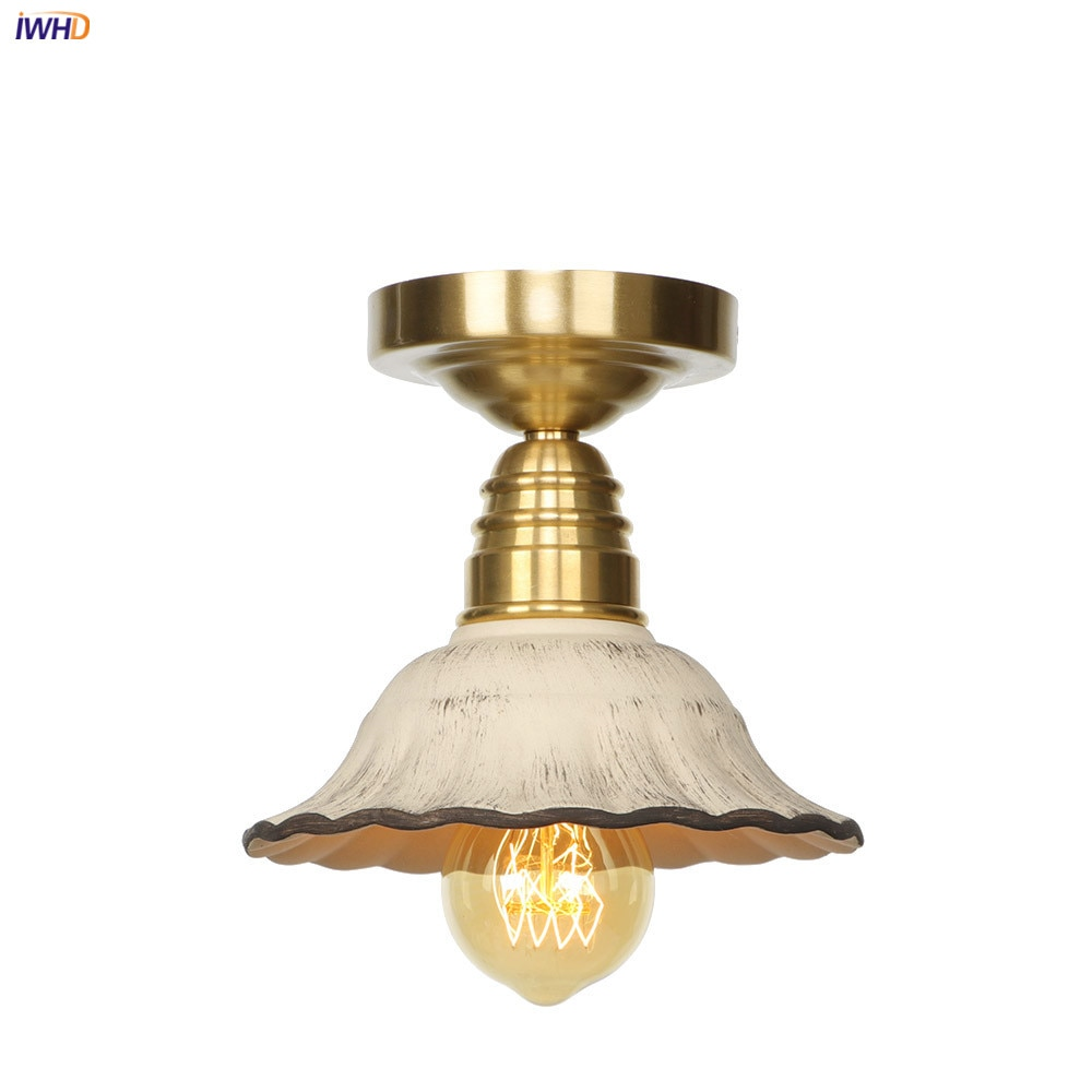 IWHD Nordic Modern Style Copper Ceiling Lights Fixtures Bedroom Living Room Light White Ceramic Ceiling Lamps LED Lampara Techo iwhd colorful nordic modern led ceiling light fixtures porch corridor bedroom round glass ball ceiling lamp plafonnier lighting
