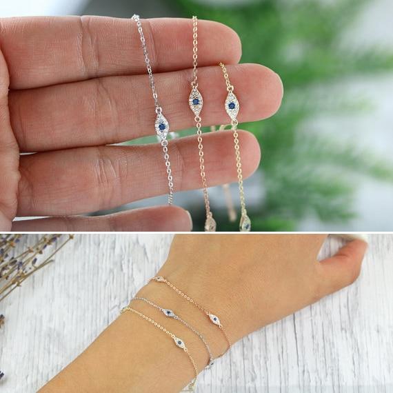 100% 925 sterling silver cute lovely blue white cz evil eye link chain minimal delicate thin chain women girl adorable bracelet