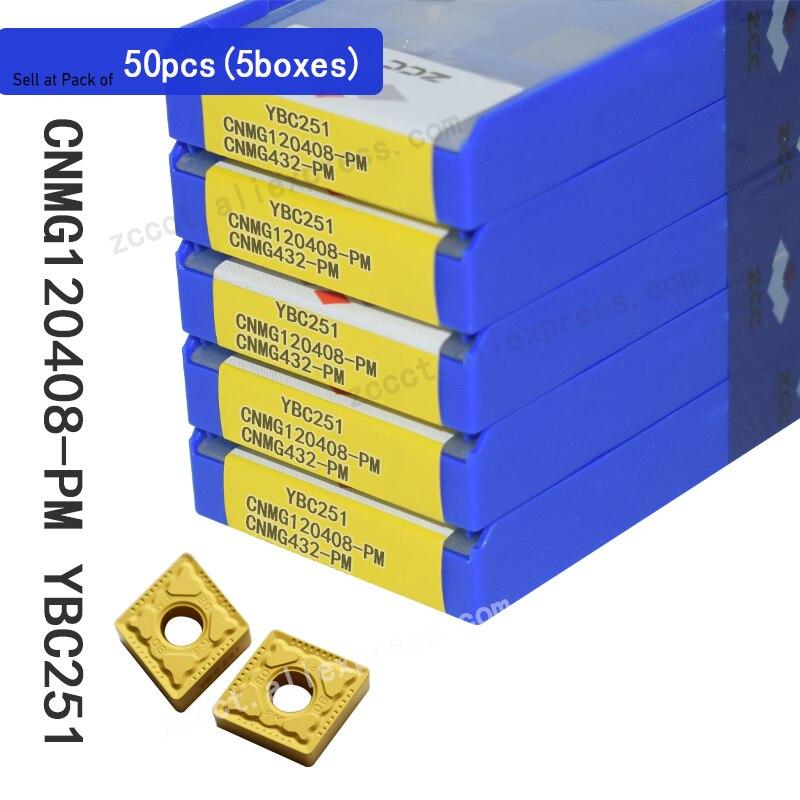 Ferramentas de Corte Ferramenta para Aço Cnmg120408pm para Aço Pces Insere Ybc251 Cnmg 120408 pm Cnmg432-pm 50 Zcc Cnmg120408-pm
