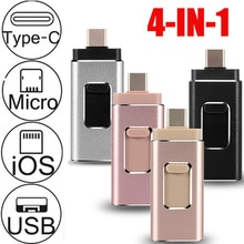 256g 64g 128gb otg usb flash drive para iphone5s/6/6s/6plus/7/7plus/8plusx android tipo-c 4in1 pendrive vara logotipo personalizado 3.0