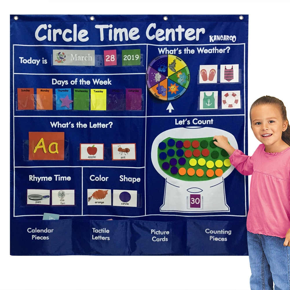 Circle Time Center Pocket Chart Calendar-Educational Learning Shape Color Classroom Number  Wording Rhyme Pictures Pocket Chart