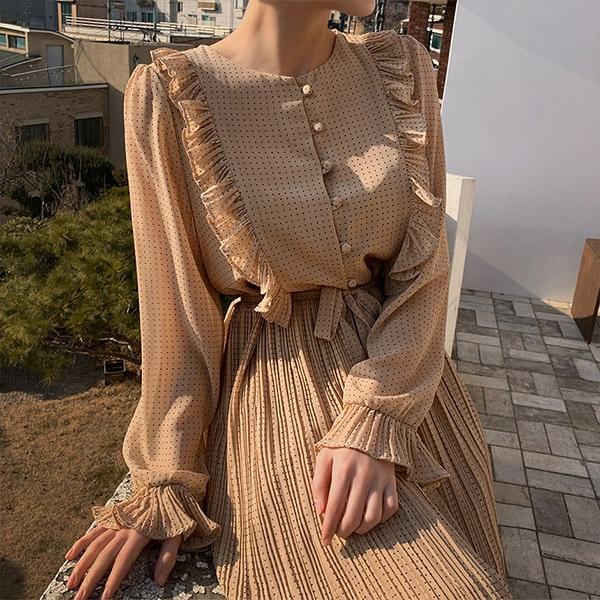 Korean Fashion Apricot Chiffon Dress Spring Autumn Women Single-Breasted Polka Dot Pleated Dresses