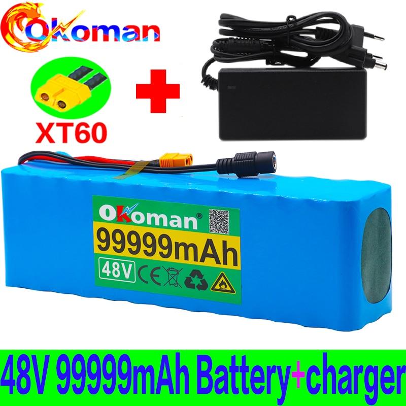 Batería Original de 48v lithiumion 48v 99.999Ah 1000w 13S3P batería de iones de litio para Scooter de bicicleta eléctrica con BMS + cargador