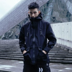 Casaco de campo preto resistente à água quente croxx acolchoado jaqueta techwear estilo rua moda