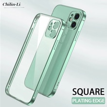 Luxury Plating Square Frame Transparent Case For iPhone 12 11 Pro Max Mini iPhone SE 2020 x xs xr 6