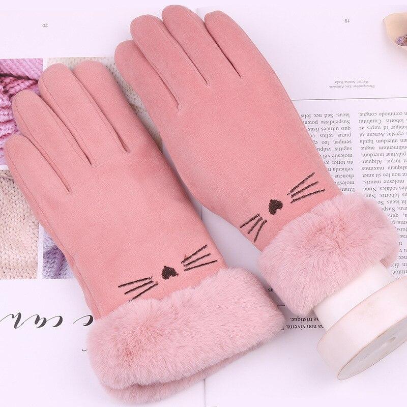 Перчатки женские с имитацией Мяу, Стильные теплые митенки с плюшевой талией для верховой езды, для девушек, для сенсорных экранов