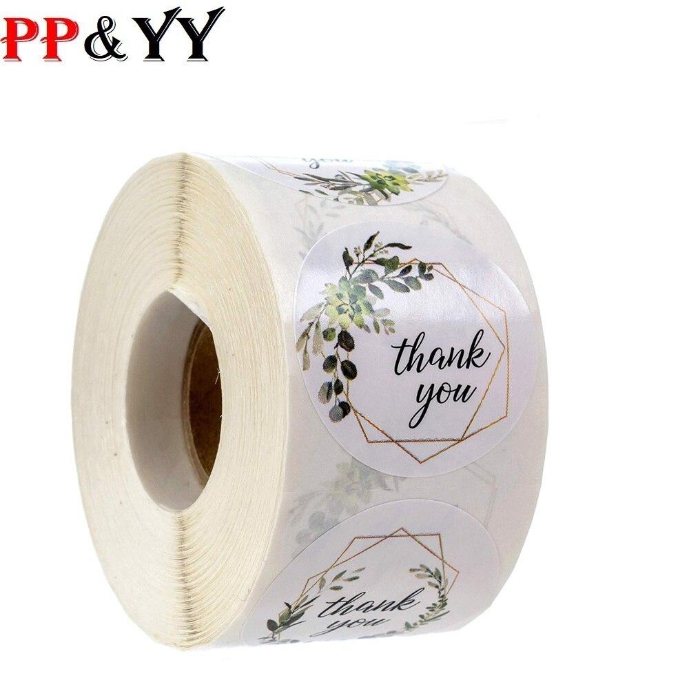 500 etiquetas rollo flor gracias sello de pegatinas etiqueta hecha a mano personalizado scrapbooking para decoración de regalo adhesivo de papelería