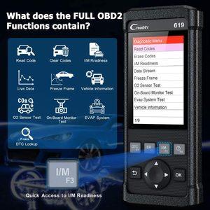 Image 3 - Диагностический сканер Launch CR619, диагностический инструмент для очистки подушек безопасности, DTC OBDII ABS SRS, онлайн, бесплатное обновление