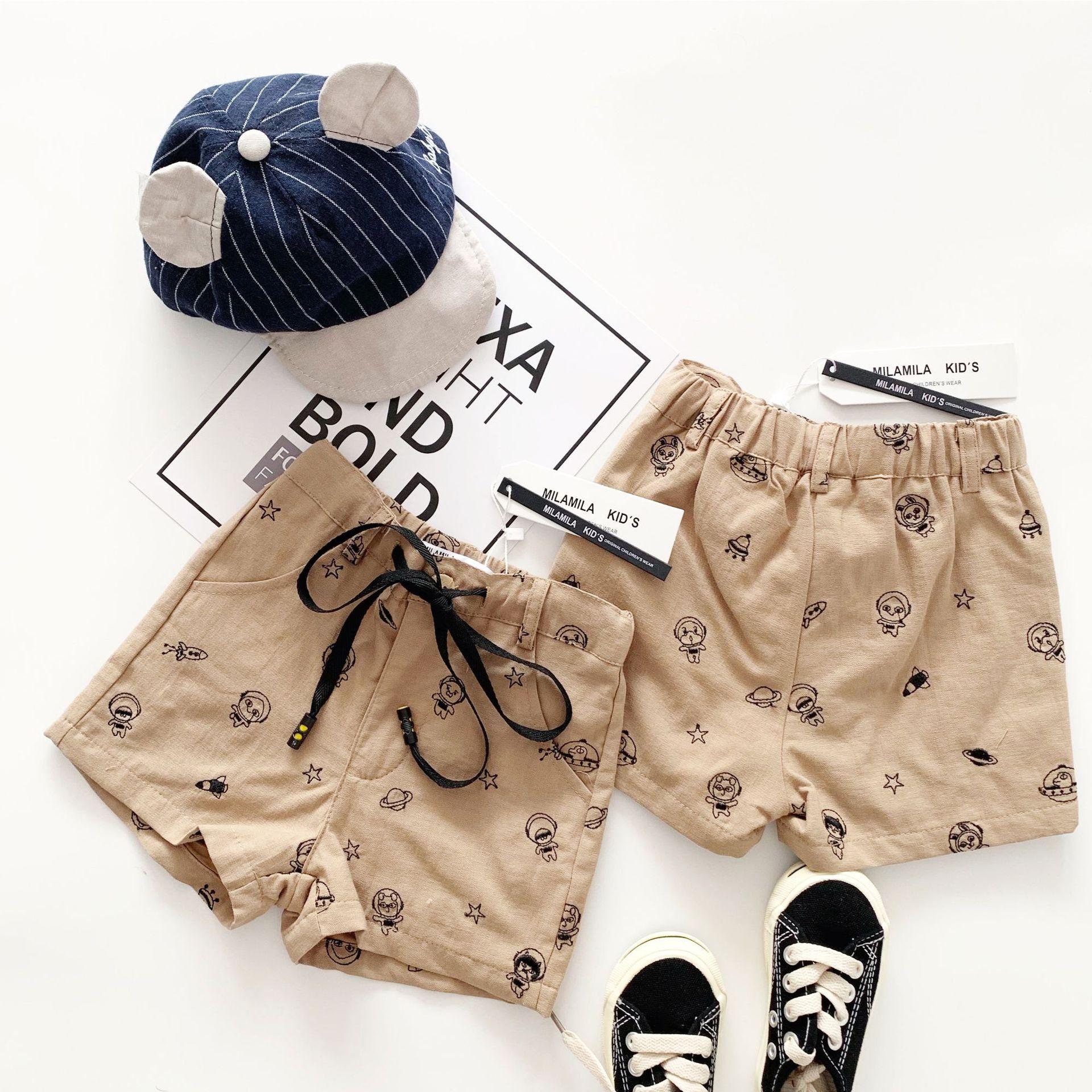 Tonytaobaby Summer New Boys and Girls Cartoon Khaki Boys and Girls  Pants Boys Pants