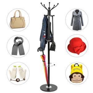 Black Coat Racks Hooks Multi Function Coat Hat Metal Rack Organizer Hanger Bedroom Stand Hat Coat Clothes Rack Hanger HWC