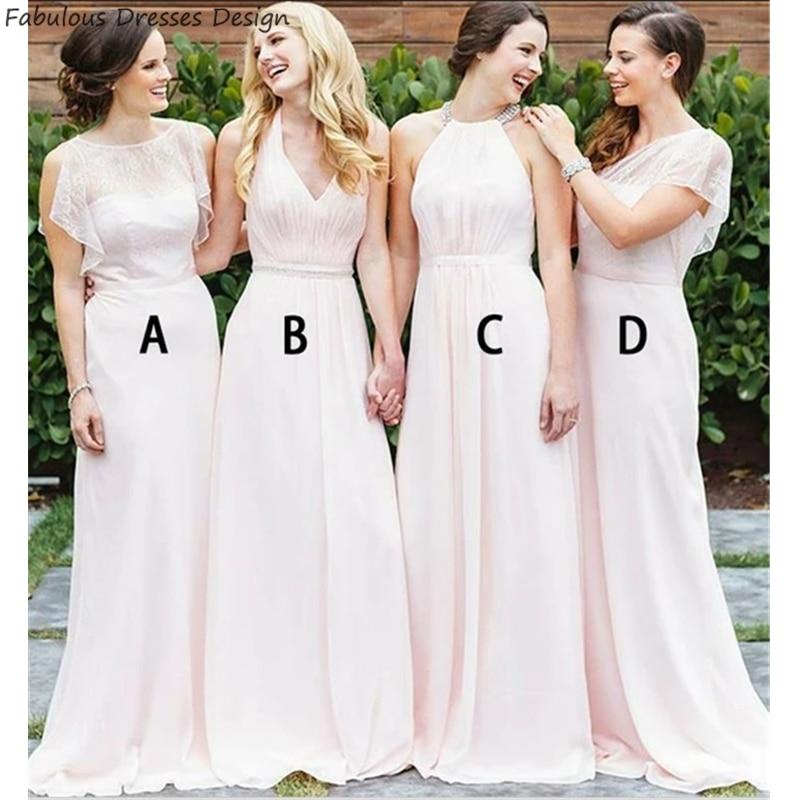 Pink A Line Long Bridesmaid Dresses 2020 Elegant Applique lace Chiffon Wedding Party Dress Vestido De Fiesta De Boda недорого