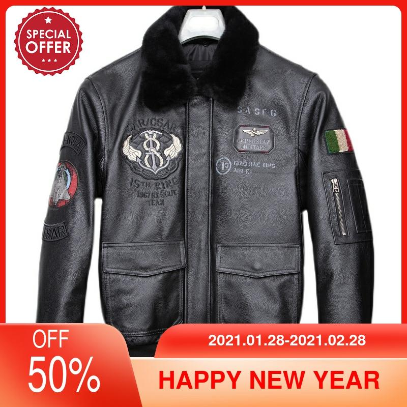 2021 Black Italy Military Style Genuine Pilot Leather Jacket Wool Collar Large Size 5XL Natural Cowhide Autumn Aviation Coat