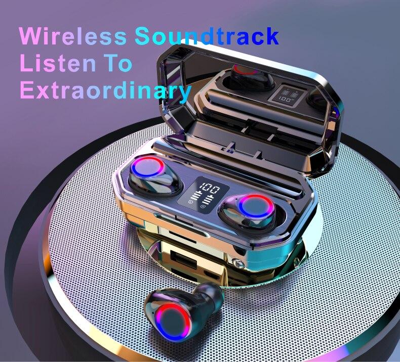 Auriculares Bluetooth 5,0 con micrófono, auriculares inalámbricos, Auriculares resistentes al agua con control de dos toques