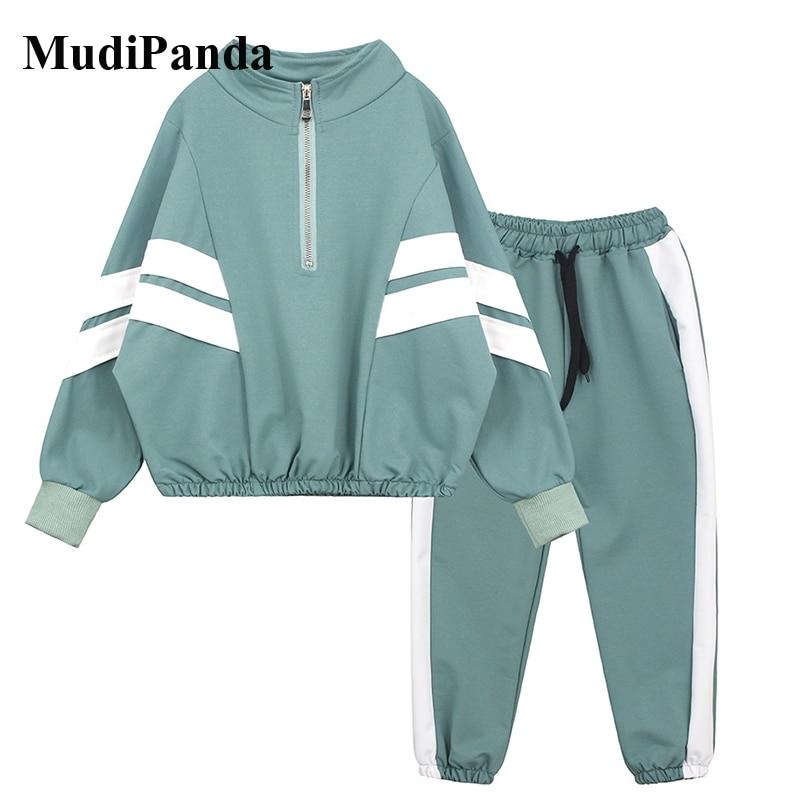AliExpress - MudiPanda Kids Sport Clothes Autumn Girls Clothing Tracksuit For Children Striped Coat + Pants 2Pcs Teenage Boys Costume 2021