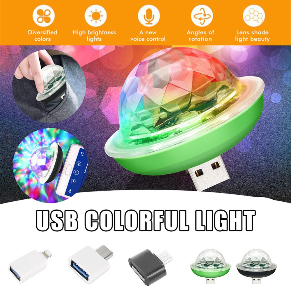 Mini USB LED Disco Stage Light Portable Family Party Magic Ball Colorful Light Bar Club Stage Effect Lamp для Mobile Phone