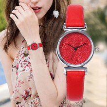 Luxury Red Watch For Women Crystal Dial Leather Wrist Watch For Ladies Students Montre Femme Casual