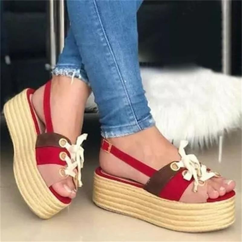 2021 Womens Shoes Color Matching Faux Suede One Word Open Toe Buckle Ribbon Flat Heel Platform Fashion Summer Sandals 6KF244