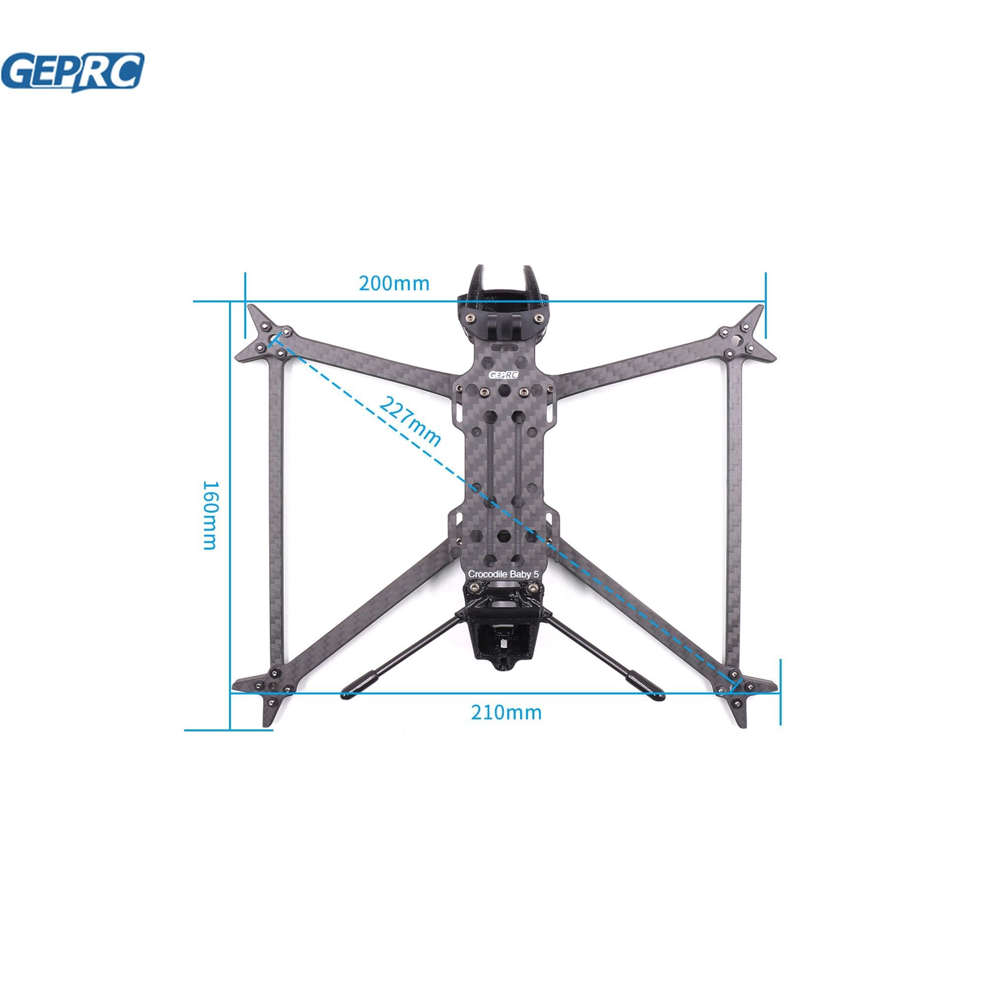 GEPRC GEP-CB5 Frame Parts for crocodile baby 5 drone 227mm Wheelbase DIY FPV Racing carbon fiber frame accessories enlarge