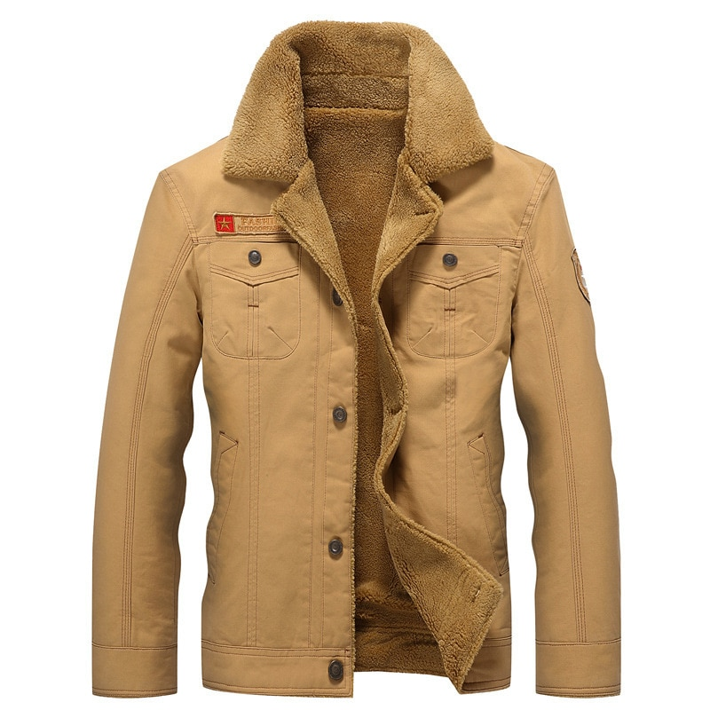 Exterior invierno Camping bombardero hombres fuerza aérea piloto abrigo cálido Cuello de piel trapos masculino ejército táctico polar chaquetas Envío Directo