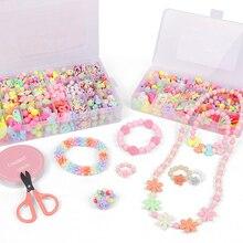 Ensemble de perles en acrylique coloré pour enfants, perles de bijoux créatifs faits à la main pour enfants bricolage