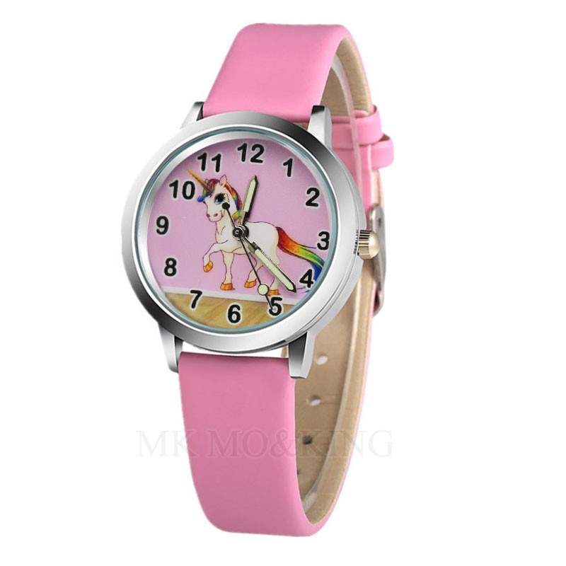 New Arrival Students Unicorn Horse Pattern Kids Girl Gift Watches Children Quartz Wristwatch Relogio