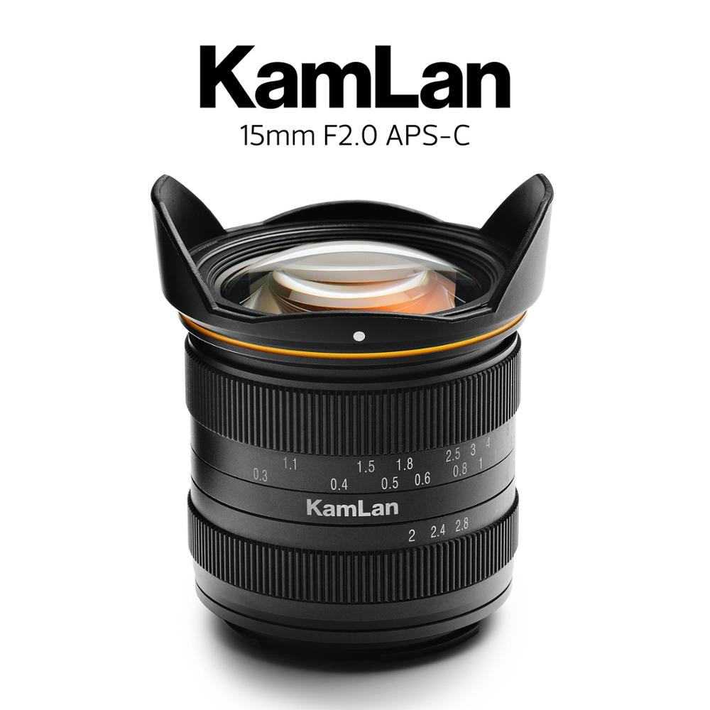 Kamlan 15 مللي متر f2.0 دليل التركيز واسعة زاوية APS-C المرايا كاميرا عدسة ل EOS-M كانون M/سوني E/فوجي X/M43 جبل كاميرات