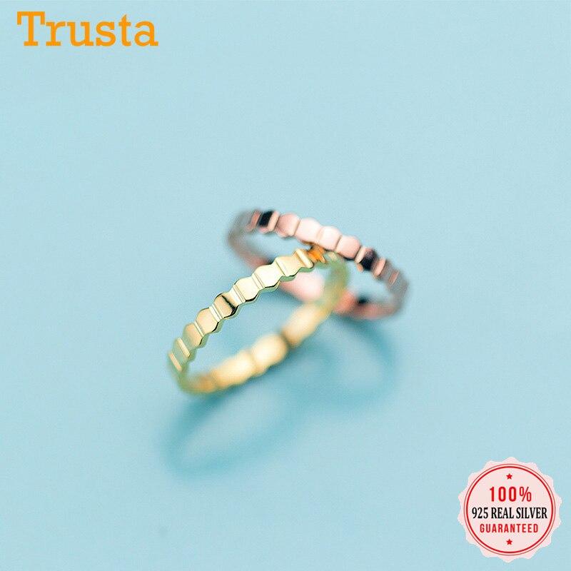 Trustdavis, anillo de dedo poligonal de plata auténtica de Ley 925, sencillo y dulce para mujer, anillo fino S925 para boda, regalo de joyería DA1126