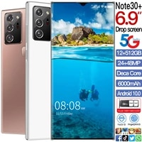 hot sale note30 6 9 inch 12gb 512gb 24mp48mp smartphone android 10 6800mah snapdragon 888 face id 10 core camera cell phones