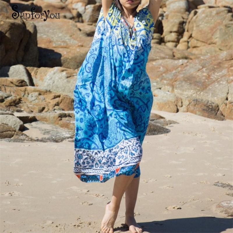 Vestido playero largo de algodón para Mujer, Túnica playera para verano del 2020, pareo de Sarong, Túnica de Playa de caftán