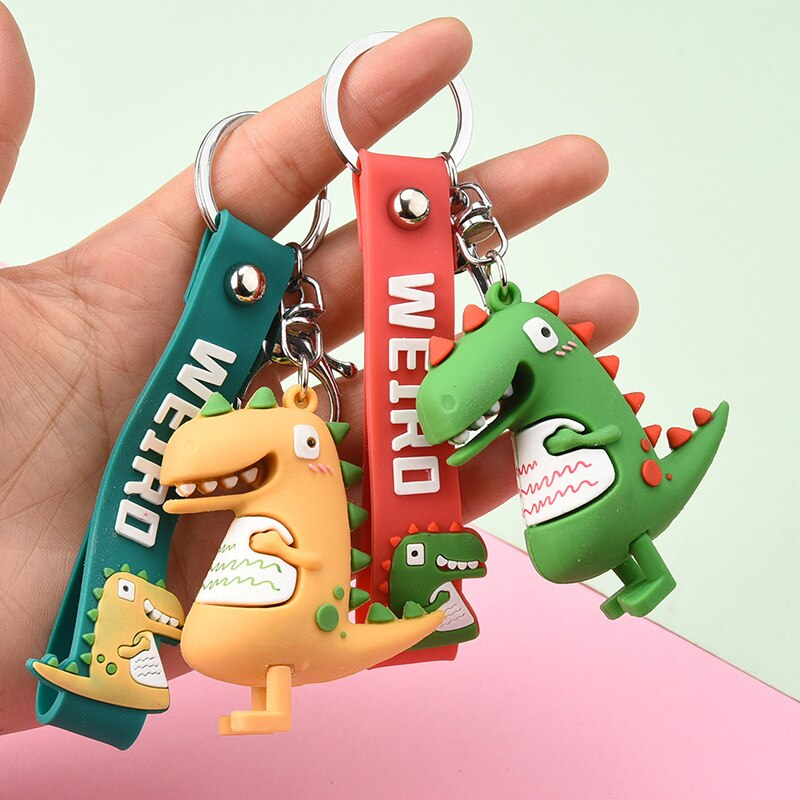 Мультфильм-Гадкий-милый-динозавр-ПВХ-брелок-подвеска-3d-подвеска-в-виде-динозавра-кулон-активности-подарка-дропшиппинг