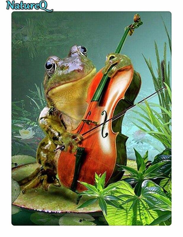 NatureQ Diamond Mosaic Frog viol Full Square Diamond Painting Lover Diamond Embroidery Animal Pictur