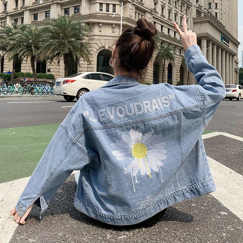 Женская свободная джинсовая куртка с вышивкой маргаритки, женская джинсовая куртка, уличная куртка-бомбер, джинсовая куртка для женщин, Жен...