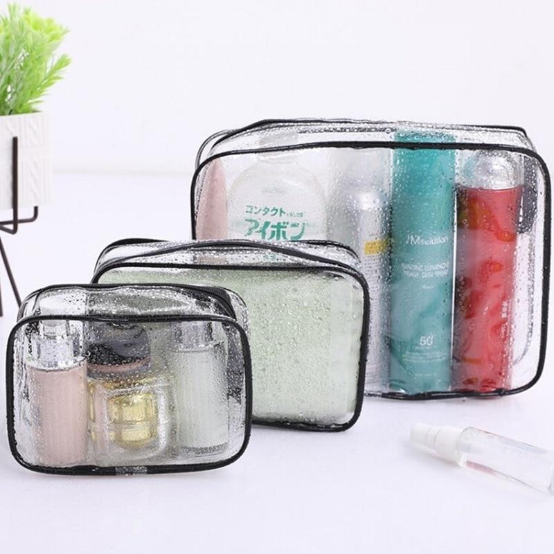 PVC Cosmetic Bag Transparent Storage Bag Travel Buggy Bag Skin Care Wash Bag Lazy Convenient Persona