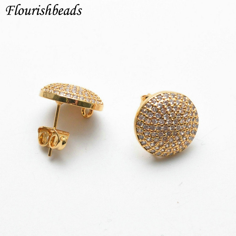 Real Gold plating CZ Zircon Paved Round Coin Shape Stud Pin Earring Findings fit Dangle Earrings making