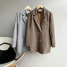 2021 Spring New Retro Plaid Suit Jacket Women's Double Breasted V Neck Long Sleeve Cardigan Female P